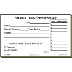 3G2 - Two-Part Absence-Tardy Admission Slip